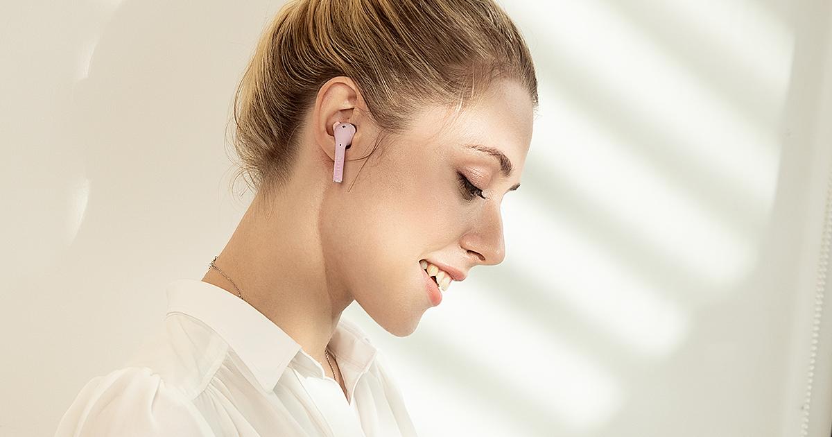 Słuchawki bezprzewodowe różowe defunc go slim